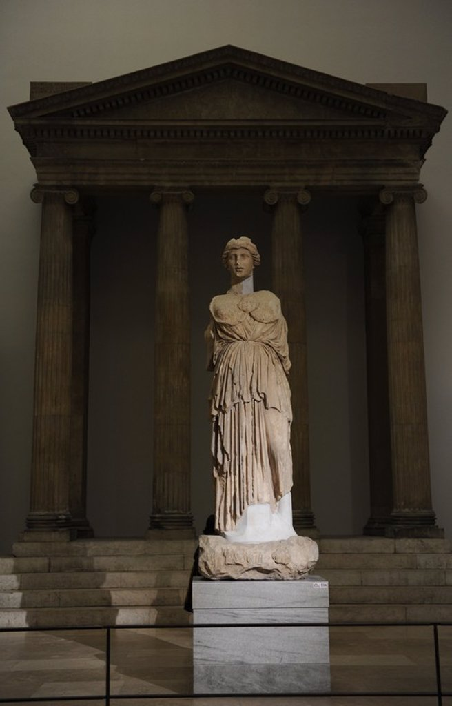 Stock Photo: 4409-62410 Statue of Athena Parthenos. Marble. Copy of Phidias. 2nd century BC. Pergamon Museum. Berlin. Germany.