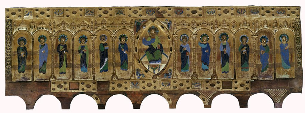 Stock Photo: 4409-6253 FRONTAL DE SILOS (1150-1160) - ESMALTE DE LIMOGES -ARTES SUNTUARIAS ROMANICAS. Location: MUSEO DE BURGOS, BURGOS, SPAIN.