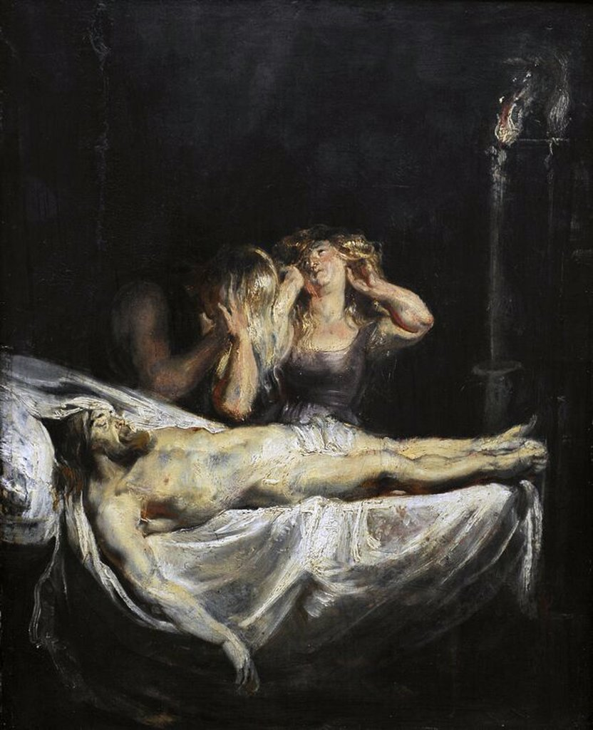 Peter Paul Rubens (1577-1640). Flemish painter. The lamentation over the dead Christ, 1610-1611. Oil on panel. Gemaldegalerie. Berlin. Germany. : Stock Photo