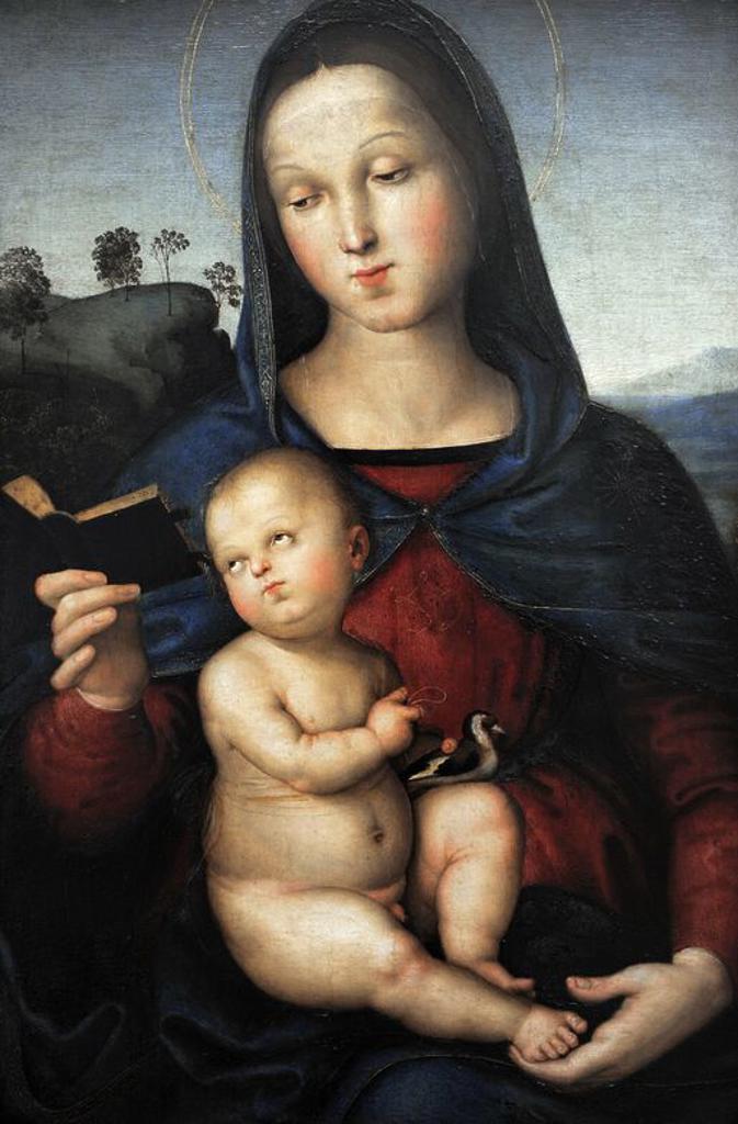 """Stock Photo: 4409-62781 ARTE RENACIMIENTO. ITALIA. RAFAEL, Raffaello Santi o Sanzio, llamado (1483-1520). Pintor italiano. """"VIRGEN Y EL NIÑO JESUS"""" (MADONNA SOLLY), 1502. Gemäldegalerie o Pinacoteca de Berlín. Kulturforum. Museos Nacionales de Berlín (Staatiche Museum). Alemania. Europa."""
