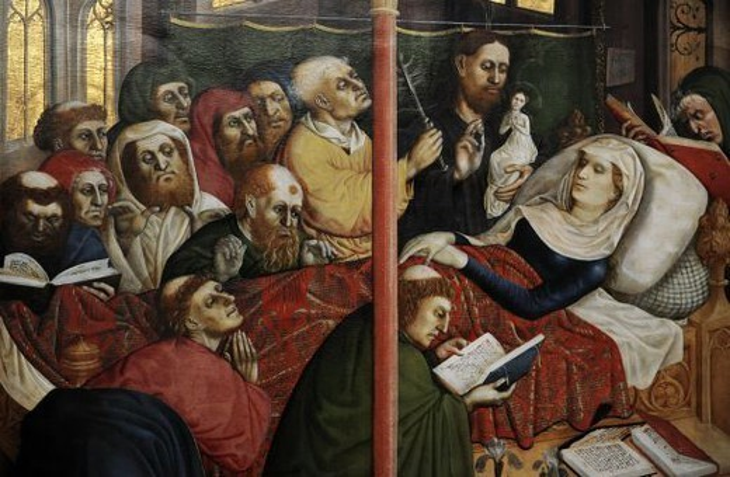 """Stock Photo: 4409-62807 ARTE GOTICO. S. XV. ALEMANIA. Hans Multscher (h. 1390/1400-1467). Uno de los más importantes iluminadores gótico prerenacentista alemán. Se le considera el más importante pintor alemán de la primera mitad del siglo XV. RETABLO DE WURZARCH, 1437. Panel en la parte inferior derecha, con la representación de """"LA MUERTE DE MARIA"""", rodeado por los apóstoles."""