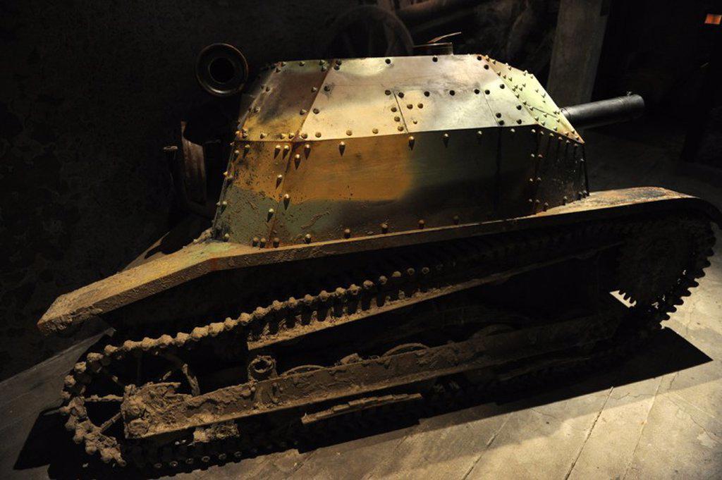 Las tanquetas TKS fueron unos pequeños vehículos BLINDADOS de Reconocimiento, diseñados y construídos en Polonia y empleadas Por El Ejército polaco en la Segunda Guerra Mundial ra Mundial. Fabricados de 1931-1939. Museo de Oskar Schindler. Cracovia. Polonia. Europa. : Stock Photo