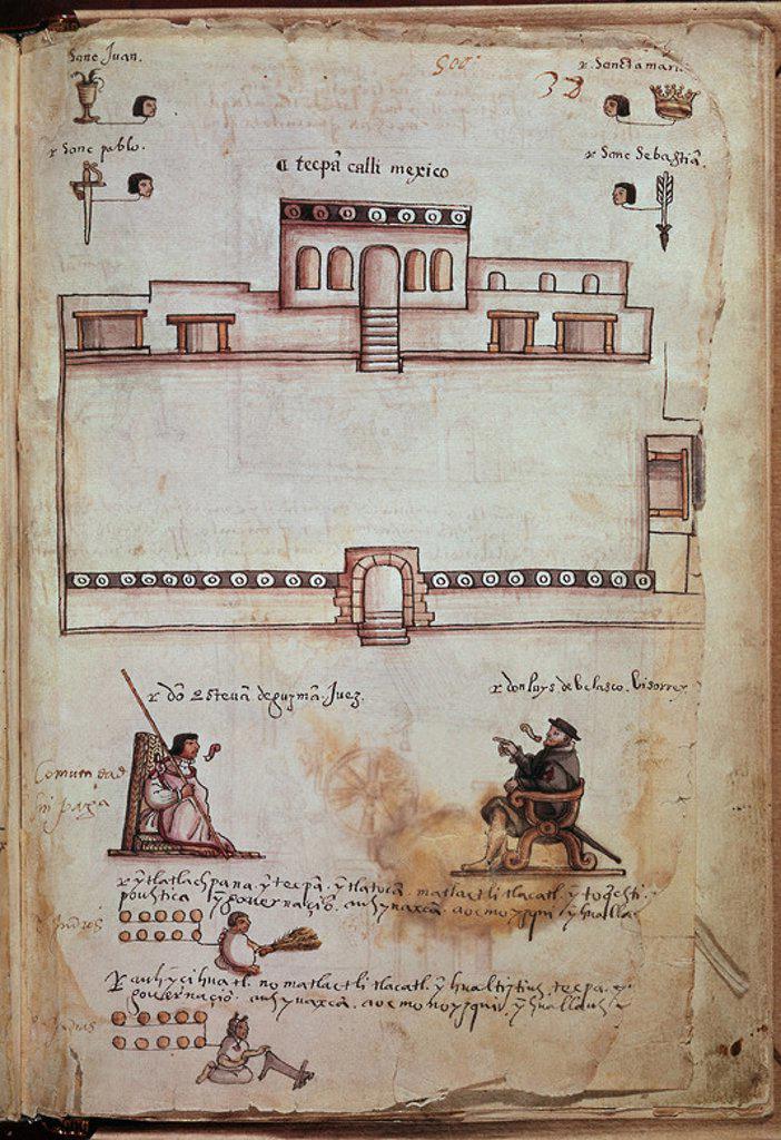 Stock Photo: 4409-6294 Osuna Codex. Governors and Mayors. Judge Esteban de Guzman Seeing Viceroy don Luis de Velasco. Madrid, National Library. Author: PUDA DR. Location: BIBLIOTECA NACIONAL-COLECCION, MADRID, SPAIN.