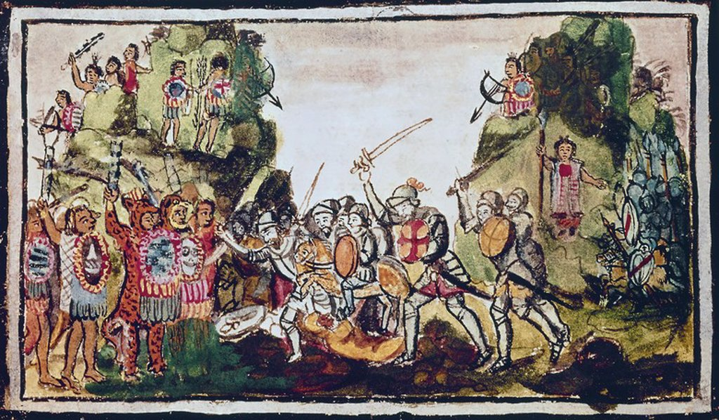 Stock Photo: 4409-6302 Aubin codex: Hernán Cortés fighting the Indians. 16th century. Madrid, National Library. Author: DURAN, DIEGO. Location: BIBLIOTECA NACIONAL-COLECCION, MADRID, SPAIN.