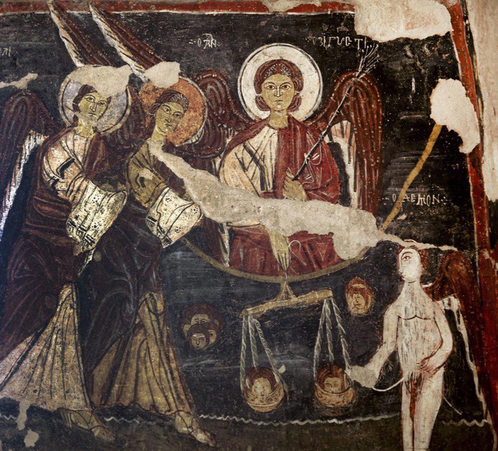 Stock Photo: 4409-63078 ARTE BIZANTINO. TURQUIA. IGLESIA DE SAN JUAN (siglo XI). Detalle de la pintura mural que decora las paredes de la iglesia excavada en la roca. Representa EL JUICIO FINAL. DÜLSEHIR. Región de la CAPADOCIA.