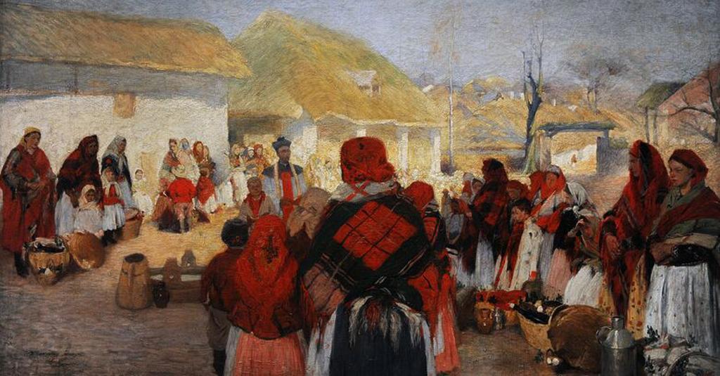 """ARTE. S. XIX. POLONIA. WLODZIMIERZ TETMAJER (1862-1923). Pintor polaco. """"Swiecone"""" (Bendición de los alimentos de Pascua"""", 1897. Museo de Arte Contemporáneo de Cracovia. Polonia. Europa. : Stock Photo"""