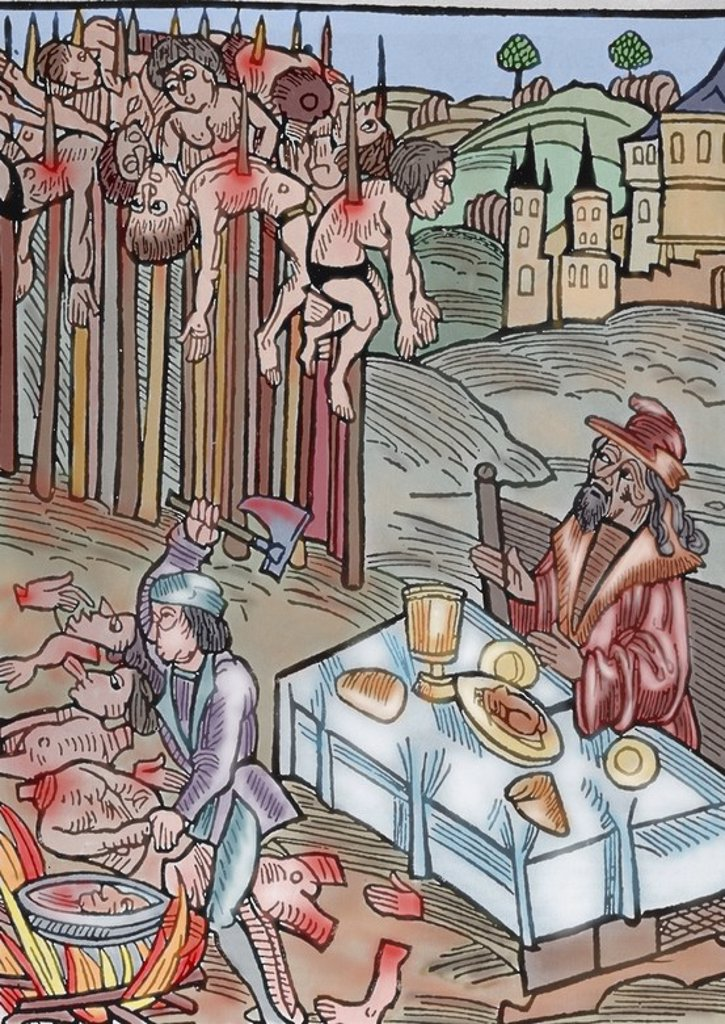 "Stock Photo: 4409-63163 Vlad II (1393-1447), known as Vlad Dracul (""Vlad the Dragon""). Voivode (duke) of Wallachia. Scene of the impalement. Vlad Tepes or Vlad the Impaler is watching the operation from a table, having his lunch and drinking wine. Germanic Illustration. Colored engraving."