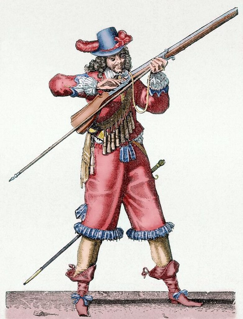 Stock Photo: 4409-63166 France. Army of the 18th century. Musketeer of the Infantry of Louis XIV blowing the fuse of the musket. Colored engraving.