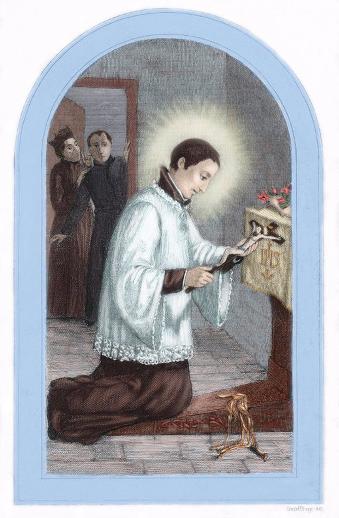 Stock Photo: 4409-63177 Saint Aloysius Gonzaga (1568-1591). Italian Jesuit seminarian and student at the Roman college. He died in Rome, at the service of persons infected by the plague. Beatified in 1605, he was canonized in 1726. Colored engraving.