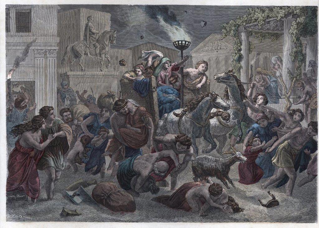 Stock Photo: 4409-63201 Historia Antigua. Roma. Destrucción de Pompeia. Grabado alemán de 1866.