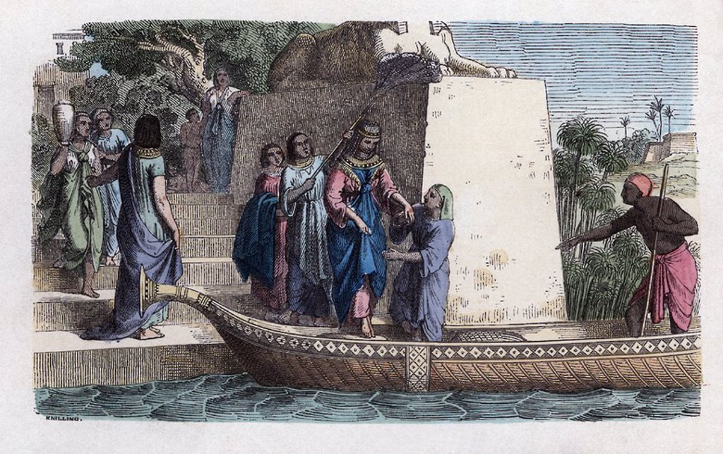 Historia Antigua. Egipto. Paseo en barca de una dama noble. Grabado alemán de 1863. : Stock Photo