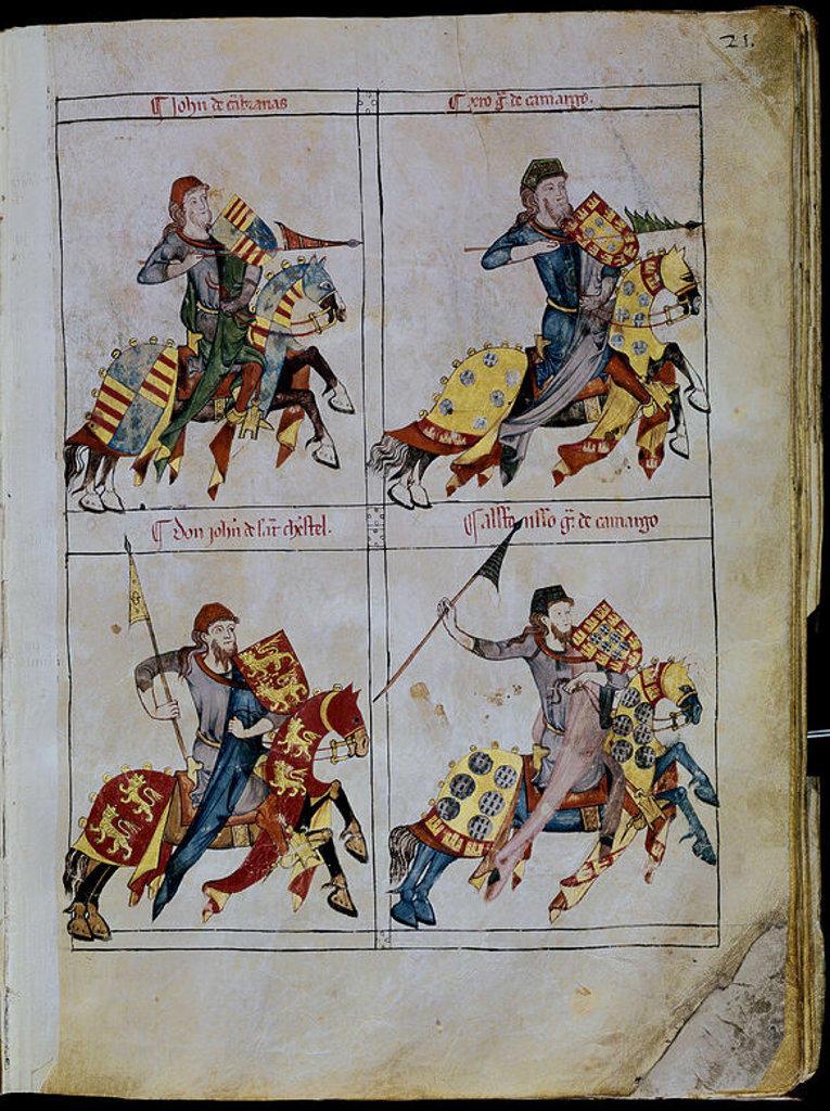 LIBRO DE LOS CABALLEROS DE LA ORDEN DE SANTIAGO - 1361 - FOLIO 21 - CAMBRANAS - GARCIA CAMARGO. Location: ARCHIVO MUNICIPAL, BURGOS, SPAIN. : Stock Photo
