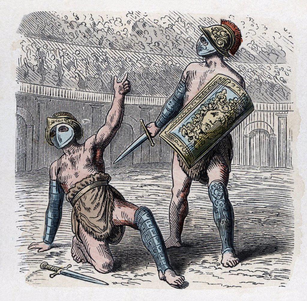 Stock Photo: 4409-63277 Historia Antigua. Roma. Circo romano, petición de gracia. Grabado alemán de 1866.