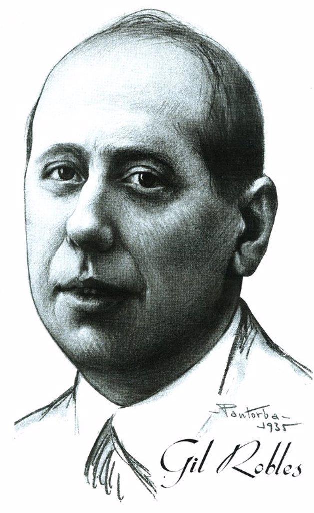 Retrato del político español José María Gil-Robles y Quiñones (Salamanca.1898-Madrid, 1980). Político y abogado español. Dibujo de Pantorba de 1935. : Stock Photo