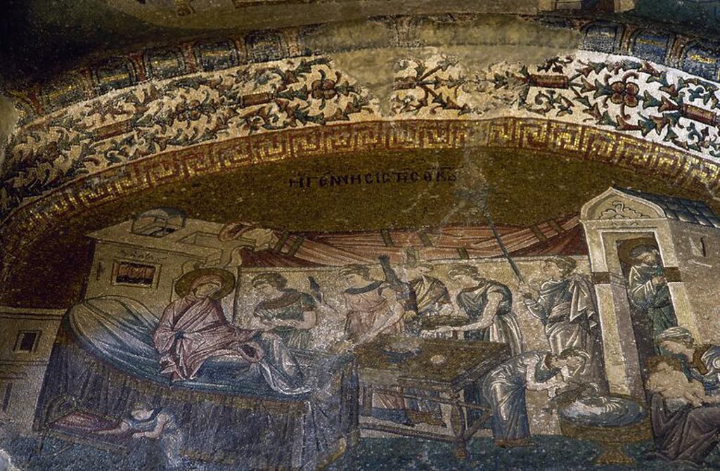 Stock Photo: 4409-63305 ARTE BIZANTINO. TURQUIA. IGLESIA DE SALVADOR EN CHORA o KARIYE CAMII (siglo XI). Mosaico con la representación de una ESCENA DE LA VIDA DE LA VIRGEN MARIA. Datado entre 1315 y 1321. Se encuentra localizado en el tercer crucero del nártex. ESTAMBUL.