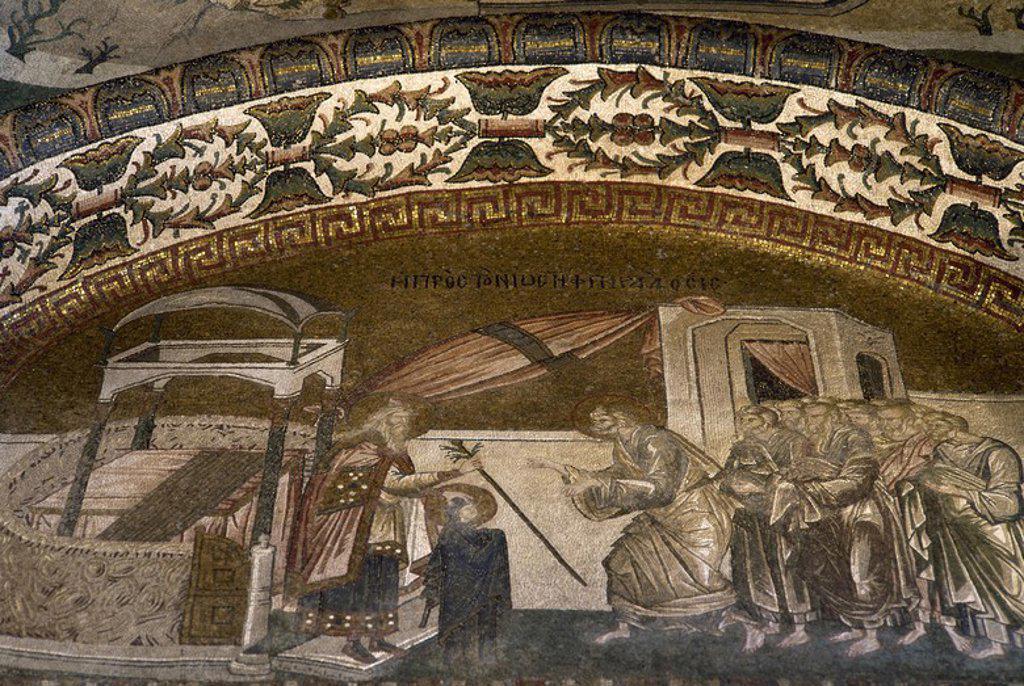 """Stock Photo: 4409-63307 ARTE BIZANTINO. TURQUIA. IGLESIA DE SAN SALVADOR EN CHORA o KARIYE CAMII. Mosaico con la representación de """"JESUS ENTRE LOS DOCTORES DE LA LEY"""". Datado entre 1315-1321. Localizado en el primer crucero del exonártex. ESTAMBUL."""