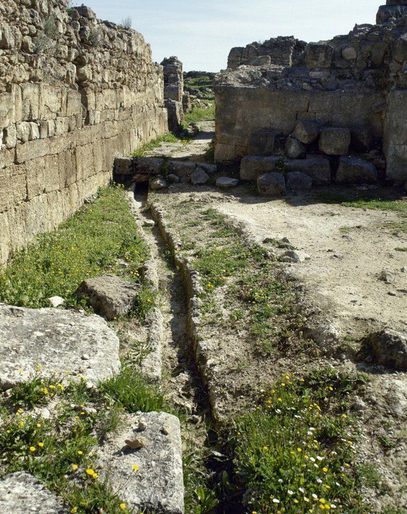 Stock Photo: 4409-63326 ARTE FENICIO. UGARIT. Antigua ciudad de Siria, junto al puerto de Minet. Estuvo habitada desde el-VII milenio (neolítico), pero su época de esplendor se situa entre finales del-III milenio y-II milenio. Vista de una de las numerosas ACEQUIAS de la ciudad. El agua desempeñaba un papel fundamental en los ritos funerarios. RAS SHAMRA. SIRIA.