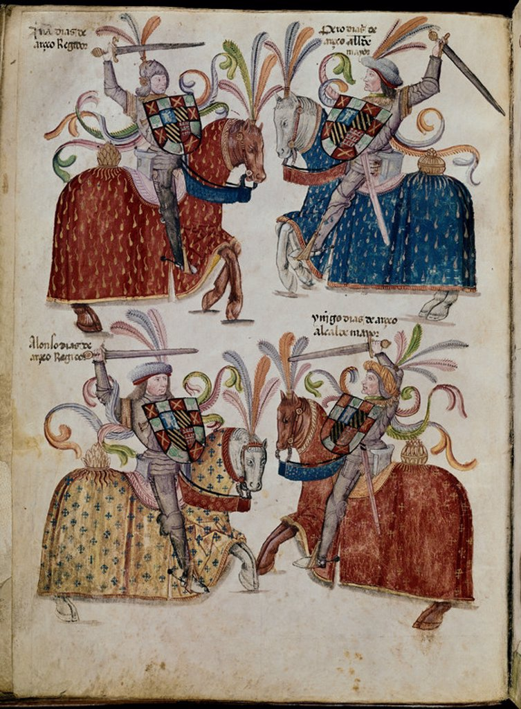 Stock Photo: 4409-6343 LIBRO DE LOS CABALLEROS DE LA ORDEN DE SANTIAGO - 1361 - FOLIO 52 V - DIAZ ARCEO. Location: ARCHIVO MUNICIPAL, BURGOS, SPAIN.