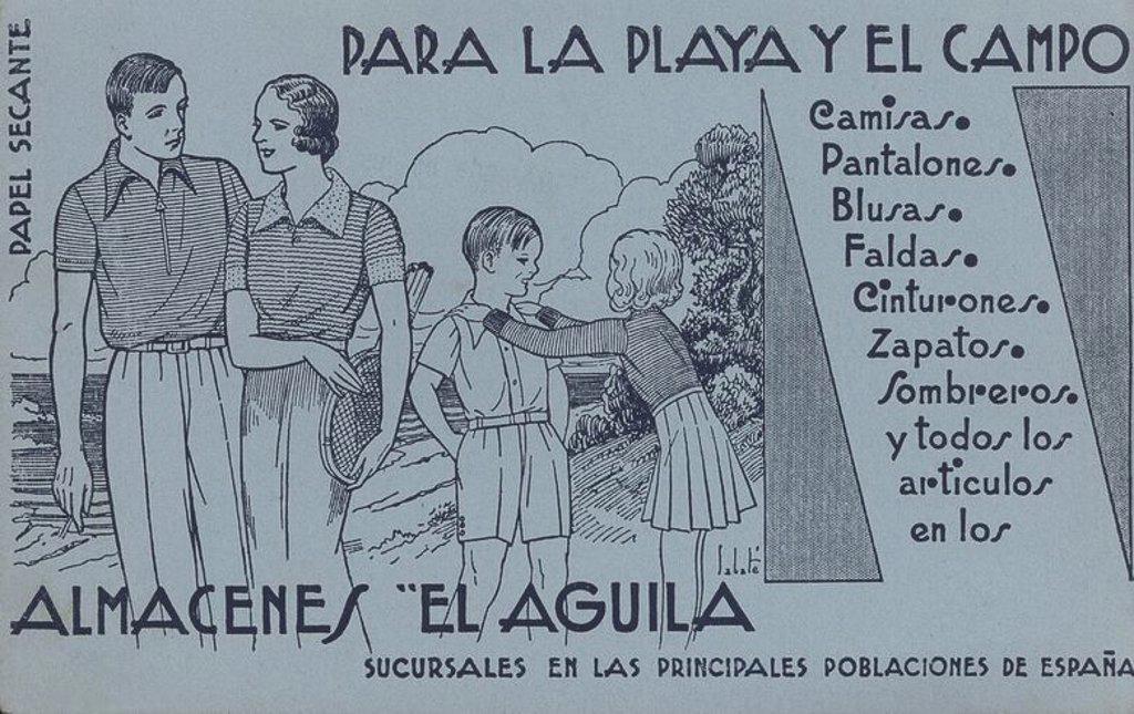 Stock Photo: 4409-63740 Publicidad de Almacenes El Aguila en una hoja de papel secante. Barcelona, años 1950.