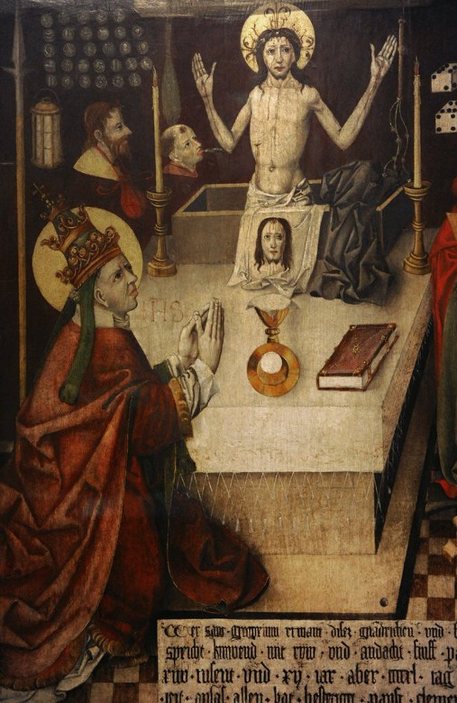 Jan Polack (1435-1519). Mass of Saint Gregory. Augsburg, 1496. Painting on wood. German Historical Museum. Berlin. Germany. : Stock Photo