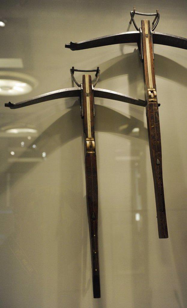 Crossbow hunting of Emperor Maximilian I. Innsbruck. 16th century. Iron, steel, wood and bone. German Historical Museum. Berlin. Germany. : Stock Photo