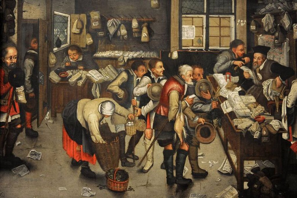 Pieter Brueghel the Younger (1564-1636). Flemish painter. The Collector's Office, after 1615. German Historical Museum. Berlin. Germany. : Stock Photo