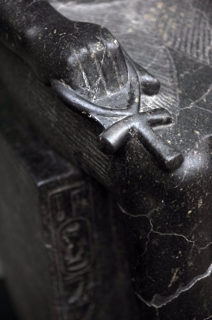 Stock Photo: 4409-63896 Statue of the jackal-headed god Anubis. Detail of the Ankh. Diorite. Reign of Amenophis III. 1403-1365 BC. 18th Dynasty. New Kingdom. From the Temple of Luxor. Ny Carlsberg Glyptotek. Copenhagen. Denmark.