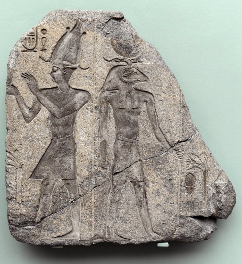 Stock Photo: 4409-63906 Relief of a king and a ram-headed god. Granite. Reign of Ptolemy II or III. 285-221 BC. From the Temple of Isis at Behbeit el-Hagar. Ny Carlsberg Glyptotek. Copenhagen. Denmark.
