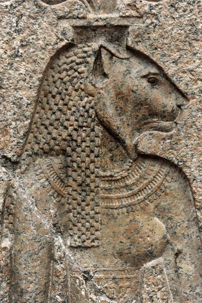 Relief depicting the lion goddess Mehit. Granite. From the Temple of Onuris-Shu at Sebennytos. Reign of Alexander IV. 316-310 BC. Ny Carlsberg Glyptotek. Copenhagen. Denmark. : Stock Photo