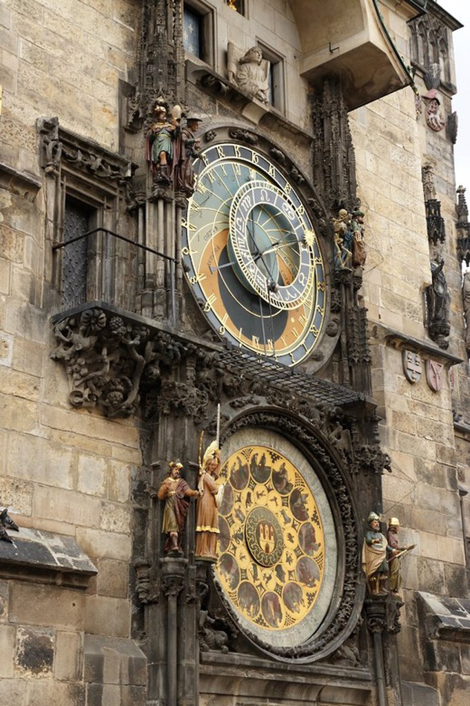 The Prague Astronomical Clock or Prague Orloj mounted on the southern wall of Old Town City Hall in the Old Town Square. Clock, calendar, and animated figures.. Czech Republic. : Stock Photo