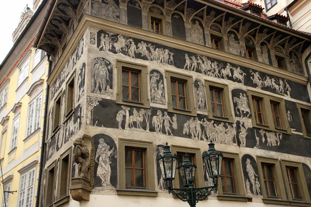 Stock Photo: 4409-63944 Czech Republic. Prague. The House at the Minute (Dum u Minuty). Old Town Square. It's a high-Renaissance house, adorned with a sgraffito facade. Built at late 15th century.