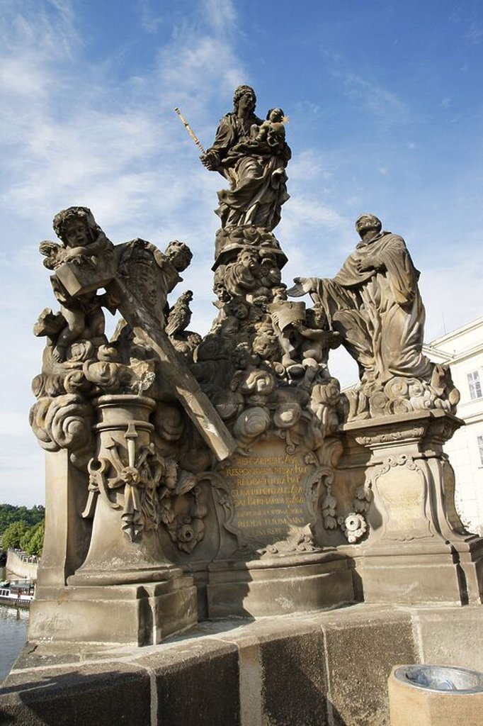 Stock Photo: 4409-63954 Our Lady and St. Bernard. By Matej Vaclav Jackel (1709). 18th century. Baroque sculpture decorating the Charles Bridge. Copy of the original. Prague. Czech Republic.