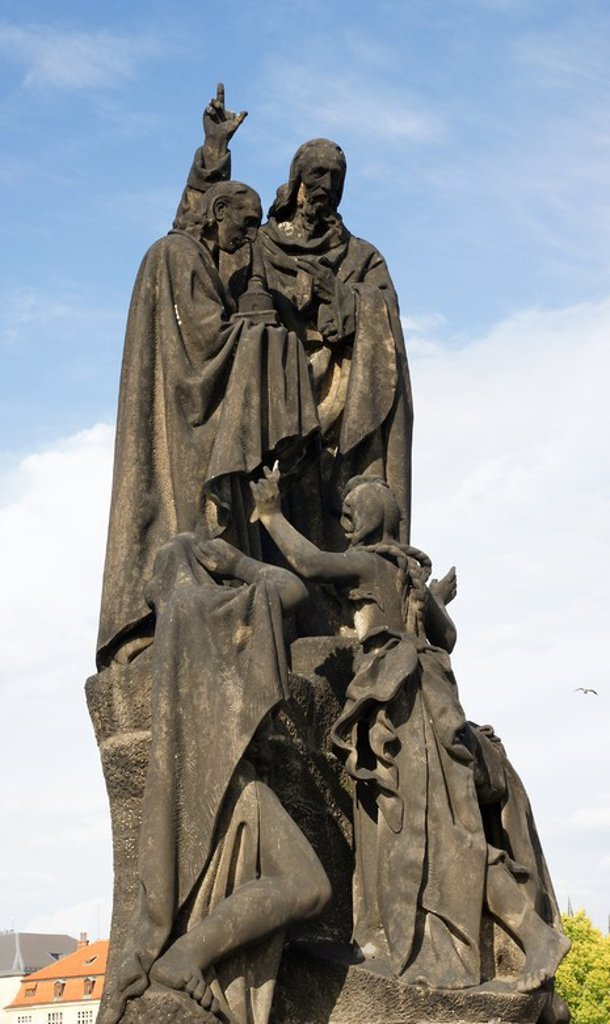 Statue of St. Cyril and St. Methodius. Sculpted by Karel Dvorak between 1928 and 1939. Decorates the Charles Bridge. Prague. Czech Republic. : Stock Photo