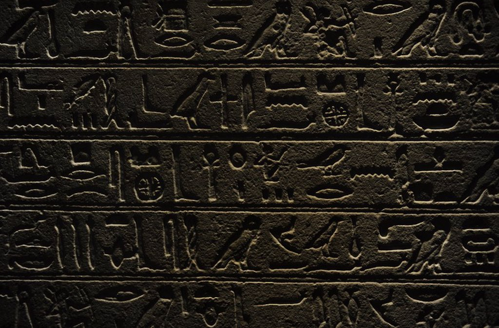 Egypt. Stele of General Intef (Antef). Detail. Hieroglyphic writing. C. 2050 B.C.  11th Dynasty. Middle Kingdom. Carlsberg Glyptotek Museum. Copenhagen. Denmark. : Stock Photo