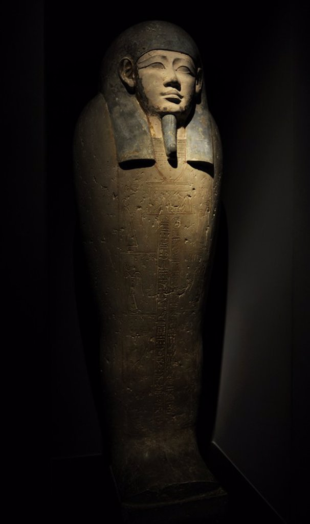 Stock Photo: 4409-63995 Egyptian Art. Sarcophagus of Nesi-Hor. C. 200 B.C. Ptolemaic Egypt. Carlsberg Glyptotek Museum. Copenhagen. Denmark.