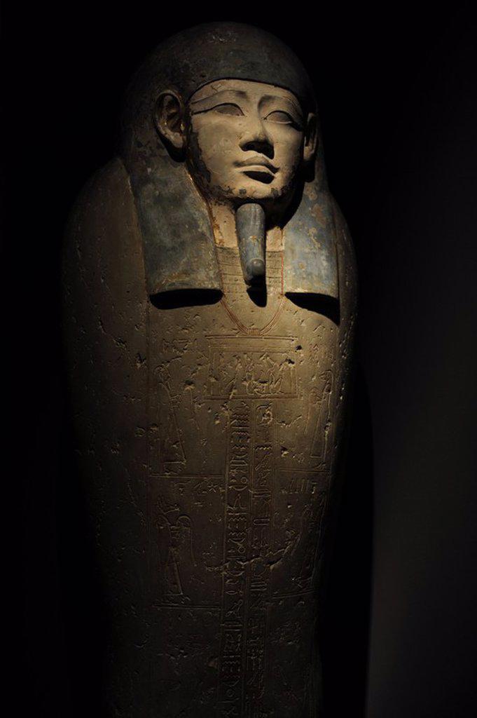 Stock Photo: 4409-63996 Egyptian Art. Sarcophagus of Nesi-Hor. C. 200 B.C. Ptolemaic Egypt. Carlsberg Glyptotek Museum. Copenhagen. Denmark.