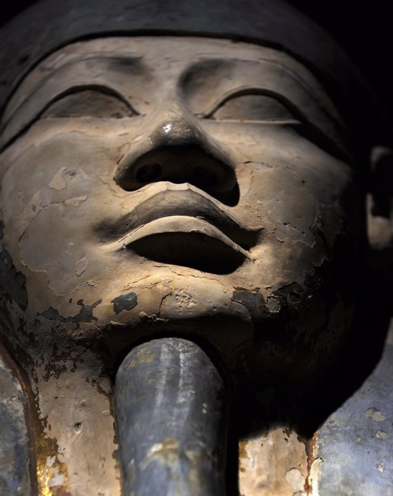 Stock Photo: 4409-63999 Egyptian Art. Sarcophagus of Nesi-Hor. C. 200 B.C. Detail. Face. Ptolemaic Egypt. Carlsberg Glyptotek Museum. Copenhagen. Denmark.