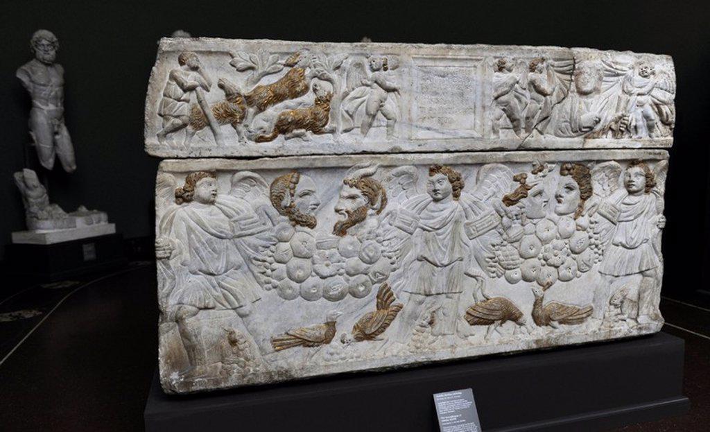 Roman Art. Sarcophagus of Aurelia Kyrilla. Marble. C. 300 A.C. From Rome. Carlsberg Glyptotek Museum. Copenhagen. Denmark. : Stock Photo