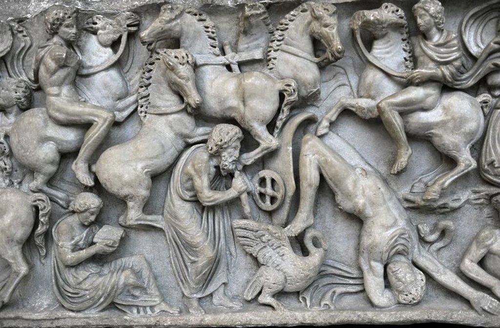 Stock Photo: 4409-64106 Roman Art. Sarcphagus Chest with the Phaeton Myth. Detail. The fall of Phaeton. Found in Ostia. Late 2nd cent. AD. Marble. Ny Carlsberg Glyptotek. Copenhagen. Denmark.
