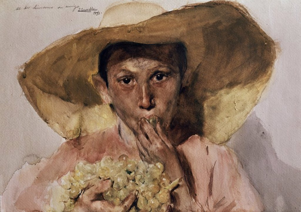 Stock Photo: 4409-6411 COMIENDO UVAS - 1898 - ACUARELA/PAPEL - 50x65 cm -  CAT  427. Author: SOROLLA Y BASTIDA, JOAQUIN. Location: MUSEO SOROLLA, MADRID, SPAIN.