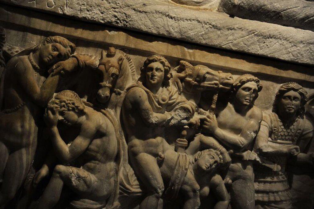 Etruscan. Cineray urns on podium. Chamber tomb of the Pruni family near Chiusi, Etruria. 200-100 B.C. Reliefs. Detail. Ny Carlsberg Glyptotek. Copenhagen. Denmark. : Stock Photo