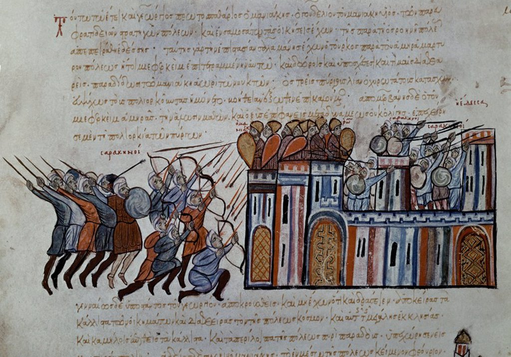 Stock Photo: 4409-6454 LOS SARRACENOS ASALTAN CONSTANTINOPLA - ENFRENTAMIENTO ENTRE ARABES Y BIZANTINOS- S XIV. Author: SKYLITZES JOHN O SCYLITZA IOANNES. Location: BIBLIOTECA NACIONAL-COLECCION, MADRID, SPAIN.