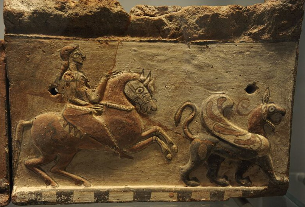 Stock Photo: 4409-64541 Ancient Art. Mediterranean Area. Roof construction. Ornamental tile depicting a horseman and a griffin. Terracotta. Ny Carlsberg Glyptotek. Copenhagen. Denmark.
