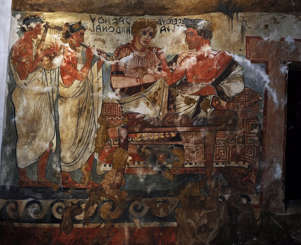 Stock Photo: 4409-64561 Etruscan Art. Copy of Etruscan wall painting. Tempera on canvas 1900. Tomb of the Shields. Tarquinia, Italy c. 350 BC.  Velhur Velcha and his wife, Ravnthu Aprthnei. Ny Carlsberg Glyptotek. Denmark.