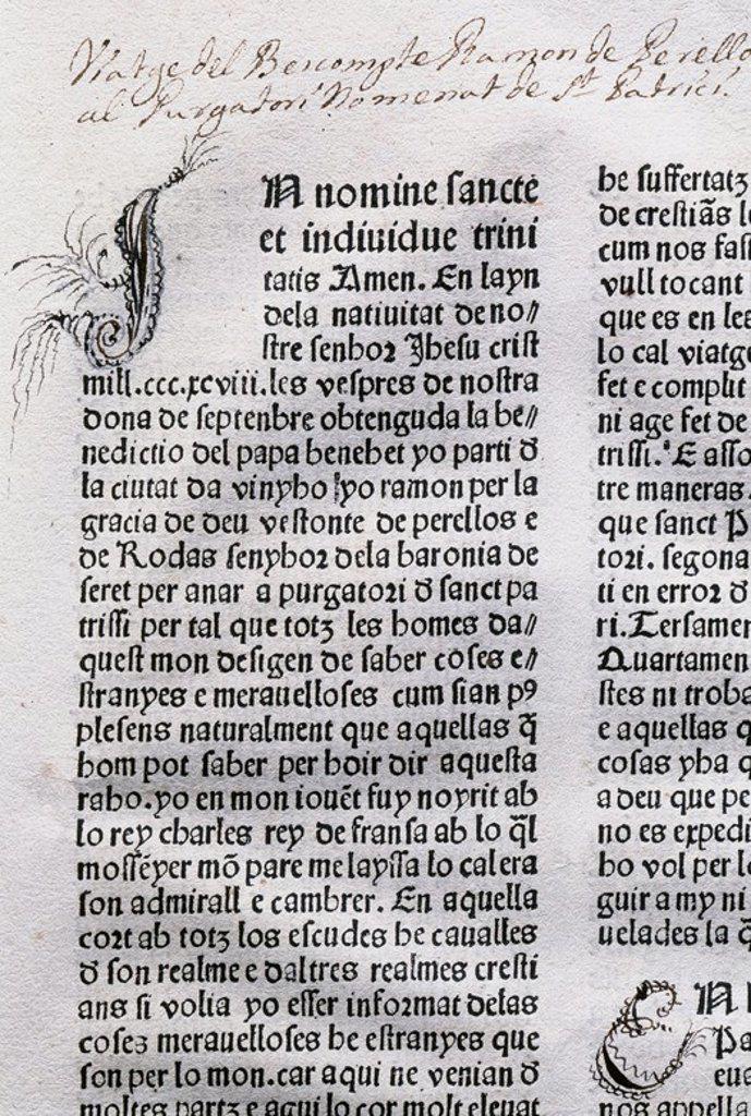 """LITERATURA CATALANA. S. XIV-XV. PERELLOS, Ramón de (1419?). Escritor aristócrata y diplomático. En la corte francesa a la que estuvo vinculado hasta 1380. """"VIATGE AL PURGATORI DE SANT PATRICI"""". Incunable en el que narra su viaje al Purgatorio para comprobar si entre las ánimas purgantes, se encuentra la del rey Juan I de Cataluña muerto en 1396. Biblioteca de Cataluña. Barcelona. : Stock Photo"""