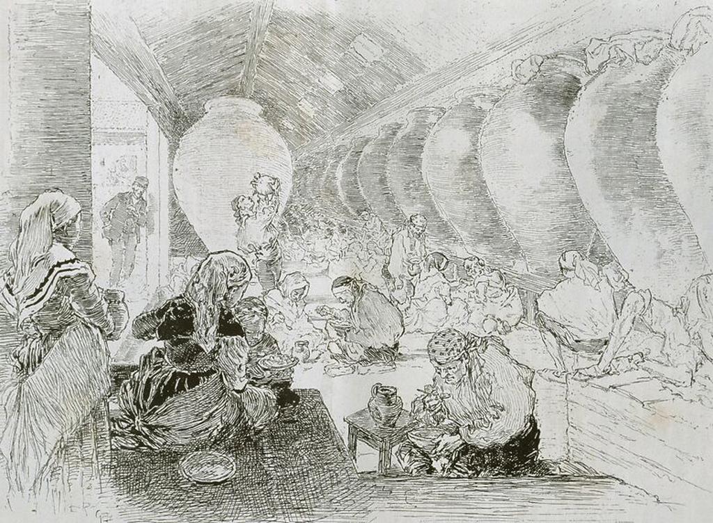 """Stock Photo: 4409-64688 BODEGA DE MANZANARES, de """"Au pays de Don Quichotte"""", """"Le tour du monde, Journal des voyages"""", París 1897. Grabado."""