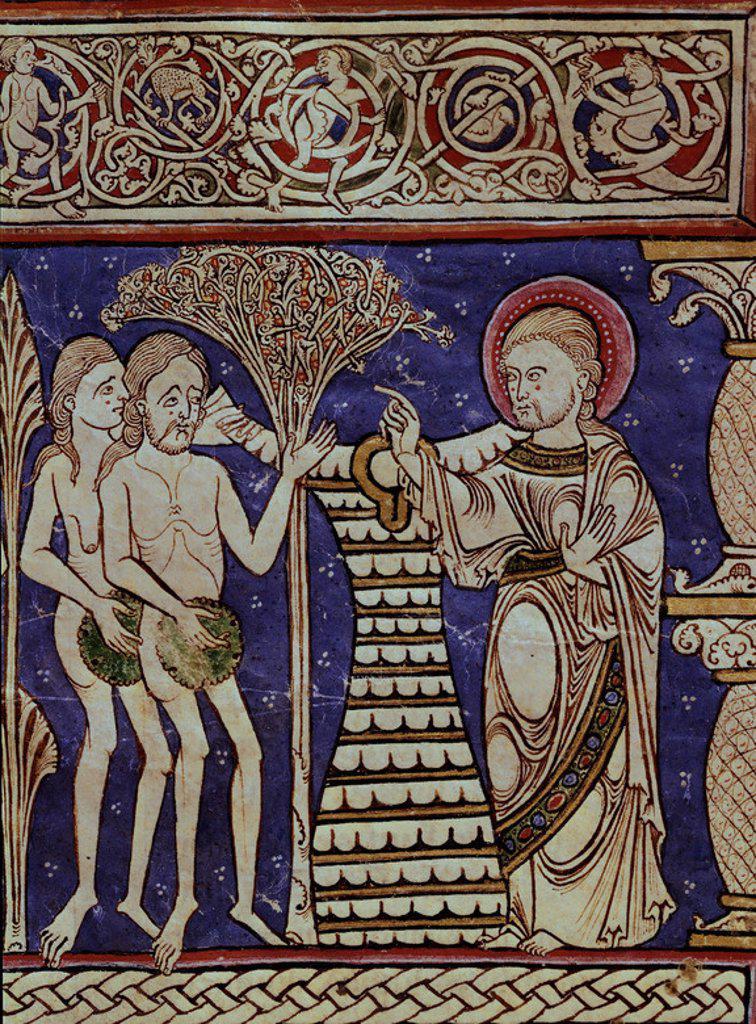 BIBLIA SACRA DE BURGOS - ADAN Y EVA, EXPULSION DEL PARAISO - SIGLO XII - MS 173-F 12V - PROCEDE DE SAN PEDRO DE CARDEÑA. Location: BIBLIOTECA PROVINCIAL, BURGOS, SPAIN. : Stock Photo