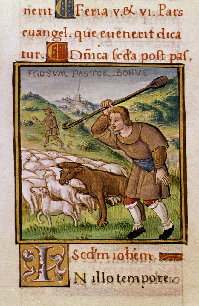 Stock Photo: 4409-6499 Evangelistary. The Good Shepherd, the Wolves and the Flock. Madrid, National Library. Location: BIBLIOTECA NACIONAL-COLECCION, MADRID, SPAIN.