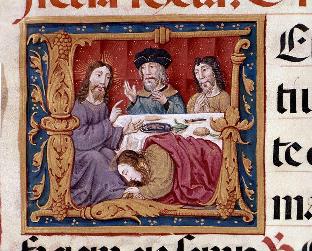 Stock Photo: 4409-6511 MISAL RICO (1503-1518) - MUJER ARREPENTIDA ANTE JESUS O JESUS EN CASA DEL FARISEO. Author: CARDENAL CISNEROS. Location: BIBLIOTECA NACIONAL-COLECCION, MADRID, SPAIN.