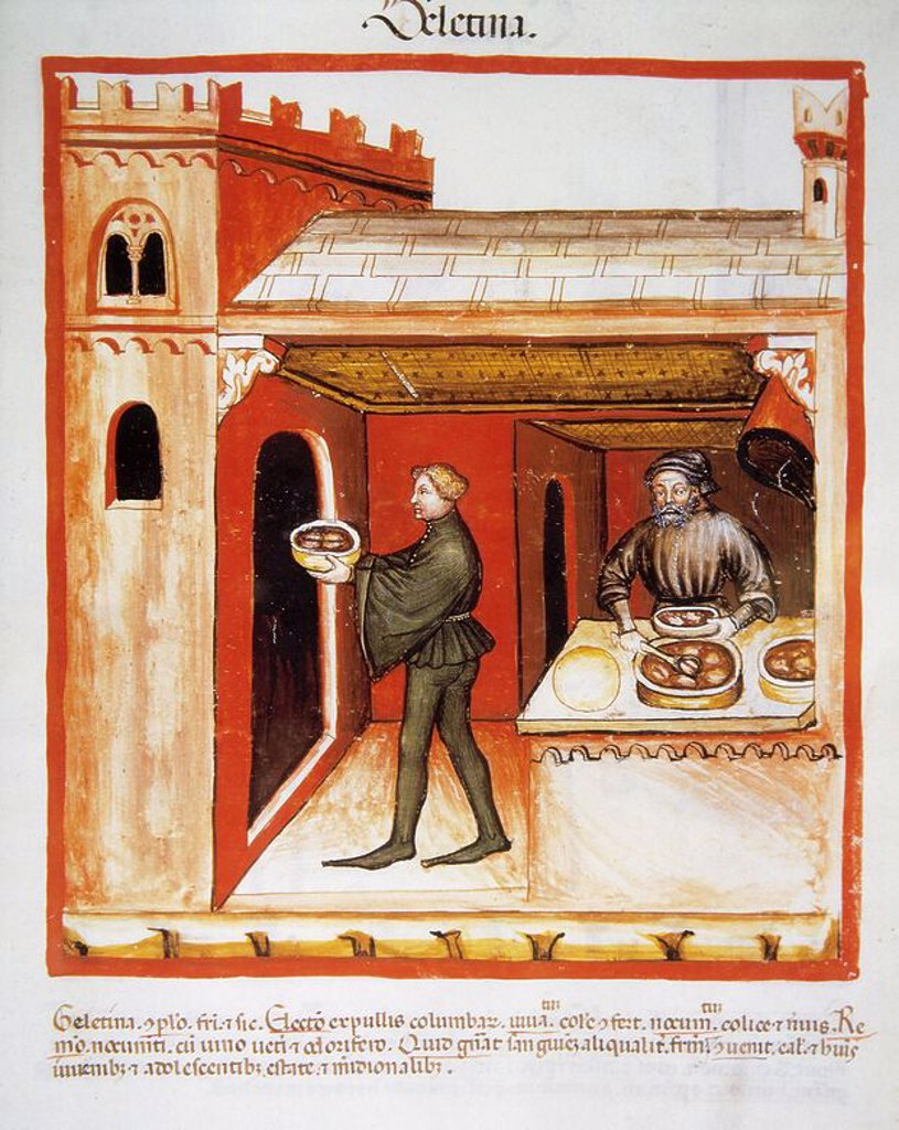 Stock Photo: 4409-65179 Tacuinum Sanitatis. 14th century. Medieval handbook of health. Meat aspic. Miniature. Fol. 76 r.